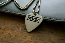Hand Made Etched Nickel Silver Guitar Pick Necklace - Muse Band