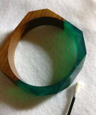 Vintage Bakelite And Wood Bracelet Tested True Wood Dark Green Marbled Bakelite