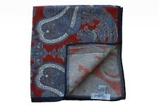 Battisti Pocket Square Muted red with blue/white/grey paisleys, pure wool