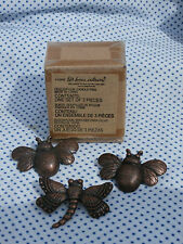 3 pc Bees, Dragonfly Candle Pins Tacks - Bronze Color, Home Interiors New In Box