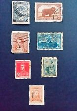 Argentina Stamps used & unused x7 old, cows, official overprint.