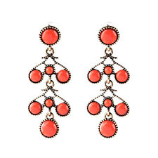 Red Coral Cabochon Scroll Drop Earrings Stud Vintage Textured Gold Round Gift