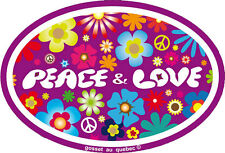Peace And Love Over Hippie Flowers - Small Bumper Sticker / Decal