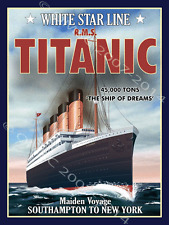 Titanic Metal Sign, Ships, Ocean, Gameroom, Bar Decor, History, Sailing