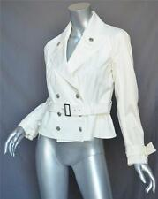 JOHN GALLIANO White Belted Double-Breasted Cotton Cropped Trench Jacket/Coat 8
