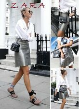 ZARA Metallic Leather High Rise Skirt Press Stugs New (RT$99.99) Silver Skirt XS