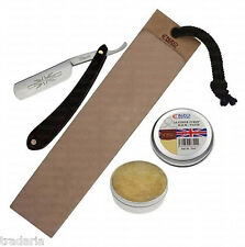 STRAIGHT CUT THROAT SHAVING RAZOR KNIFE LEATHER STROP PASTE NAVAJAS PARA AFEITAR