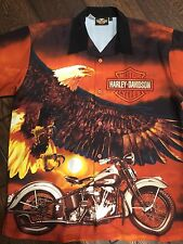 Awesome Harley Davidson Prestige Button-Up Shirt With Awesome Harley Graphics L