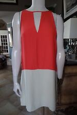 NWT PARKER Coral 100% Silk Sleeveless Colorblocked Shift Dress S