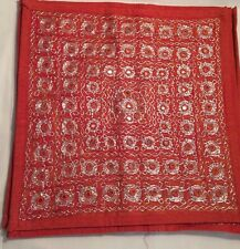 Red  Hand Embroidered Mirror Work Cotton Cushion Cover 16 X 16