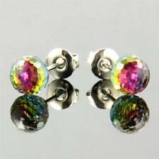 5mm Sparkling Vitrail Color Change Created Crystal Ball Pierced Stud Earrings