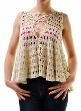 Free People Women's Circles Within Sweater Tank top Beige RRP £104 BCF66