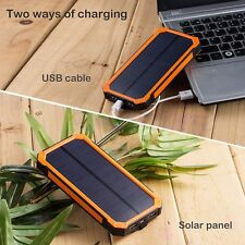 20000mAh Waterproof Solar Dual USB LED External Battery Power Pack Bank Charger