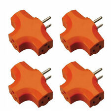 4X 3 Way Outlet Wall Triple Tap Adapter Grounded Tri Tap Electrical Splitter BN4