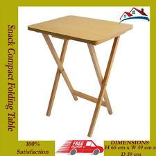NEW Snack Table Compact Folding TV Laptop Coffee Natural Wooden Veneer Top Table