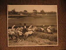 Thoroughbred Hurdle Racing at Monmouth Park Race Course Vintage 1950's Photo
