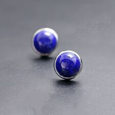 New Craft Sterling 925 Sliver & Lapis Lazuli Round Stud Earrings J.Lee 3.8-4.1g