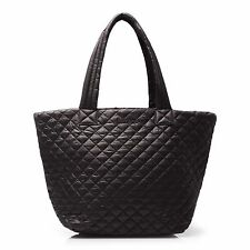 MW Wallace NY ~ Art to Wear ~ Black Quilted Oxford Medium Metro Tote Shopper Bag