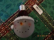 ACRYLIC BULB ORNAMENT WITH SNOWMAN FACE NEW WITH TAG