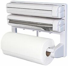 Kitchen Roll Holder Tin Foil Cling Film Paper Towel Wrap Dispenser Store Cutter