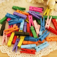 100X Mini Multi Color Wooden Craft Peg Photo Paper Hanging Clip Clothespin 25mm