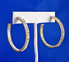 STAINLESS STEEL GOLD TONE IN & OUT CHANNEL SET SQUARE CRYSTAL HOOP EARRINGS