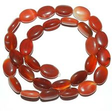 NG1476f Red Agate 14x10mm Flat Puff Oval Gemstone Beads 15""