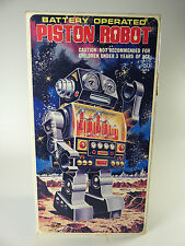 vintage Piston Robot Battery Operated S.H. Horikawa in Box Made in Japan 1960's
