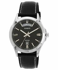 Casio MTP1381L-1A Mens Black Genuine Leather Dress Watch NEW 50M Black Dial