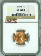 1969 S CENT NGC MS66 RD MAC PQ, PENNY 1c - BUSINESS STRIKE BEAUTY!