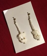 ELEPHANT EARRINGS - Lucky Trunk Up - Bone Carving Jewelry India