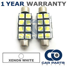 2X WHITE CANBUS NUMBER PLATE INTERIOR 8 SUPER BRIGHT SMD LED BULBS 44MM 15WX2