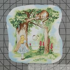 BonEful Fabric Cotton Quilt VTG Disney Alice in Wonderland Applique Cheshire Cat
