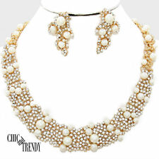 OFF WHITE PEARL, CRYSTAL PROM WEDDING FORMAL CHUNKY NECKLACE JEWELRY SET TRENDY