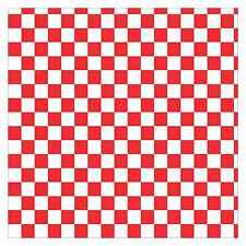12 x 12 Red and White Checkered Hobby Cutter Vinyl Sheet Sticker Square Pattern
