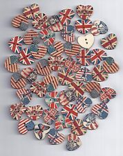 10 pcs National flag painted Wooden Heart decorative Buttons for Scrapbooking-89