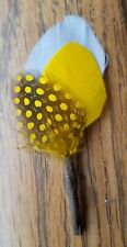 Hat Pin, Boutonniere,  Hat Band Feather, Wedding Bridal, Gray, Yellow,  Guinea