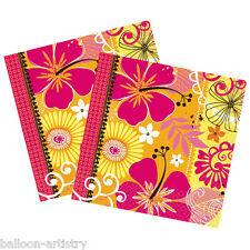 16 Tropical Party Heat Yellow Orange Square 2ply Disposable 33cm Paper Napkins