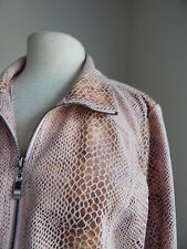DIALOGUE PINK/BROWN PYTHON WASHABLE ULTRASUEDE ZIPPED JACKET SIZE L