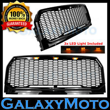 15-17 Ford F150 Raptor Style Gloss Black Full Replacement Mesh Grille+LED+Shell