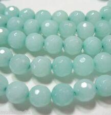 "Blue-Green ""Amazonite"" Quartz 8mm Faceted Round Beads 15"" Sparkling Translucent"