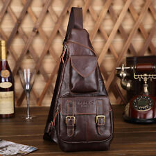 Men Sling Chest Bag Genuine Leather Vintage Travel Ride Messenger Shoulder Pack