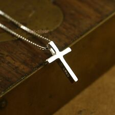 925 Sterling Silver Religious Tiny Cross Pendant Necklace Box Chain 16'' A2244