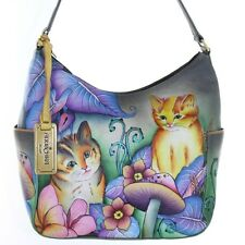 Anuschka Classic Genuine Leather Handpainted Hobo w Pockets Cats in Wonderland