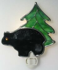 Bear and Tree Stained Glass Night Light