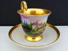 schöne alte Bilder Tasse mit Untertasse Schloss Lohmen Sachsen ca. 1820 / 1840