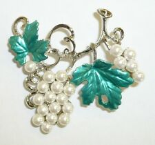 Cute Sterling Silver Pearl Grapes on Vine Brooch Pin / Comes in Gift Box