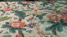 VINTAGE CABBAGE ROSE  FLORAL ORANGE GREEN COTTON UPHOLSTERY DRAPERY FABRIC