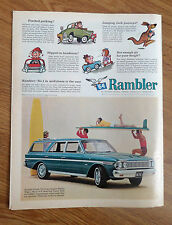1964 Rambler Classic 770 Cross Country Station Wagon Ad Surfboard Surfing Theme