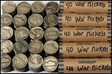 5-Rolls Of War Nickels (200 coin lot), All 35% Scrap Silver, Yields 11+ Troy Oz
